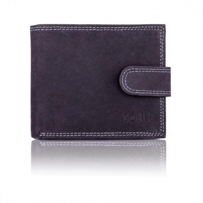 Elegantní kožená pánská peněženka značky SOLIER SW25 - BLACK