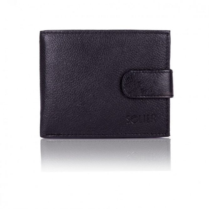 Elegantní kožená pánská peněženka značky SOLIER SW26 - BLACK