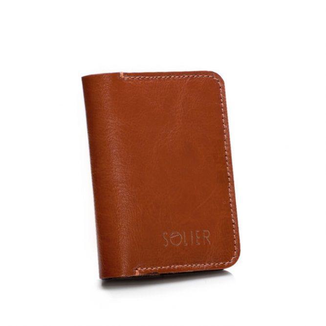 Elegantní kožená pánská peněženka značky SOLIER SW11 slim - BROWN