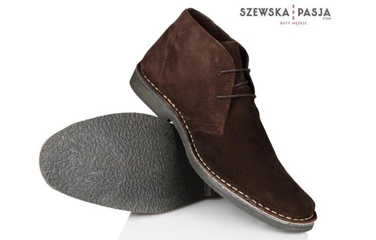 Pánské kožené tmavě hnědé boty  CHUKKA