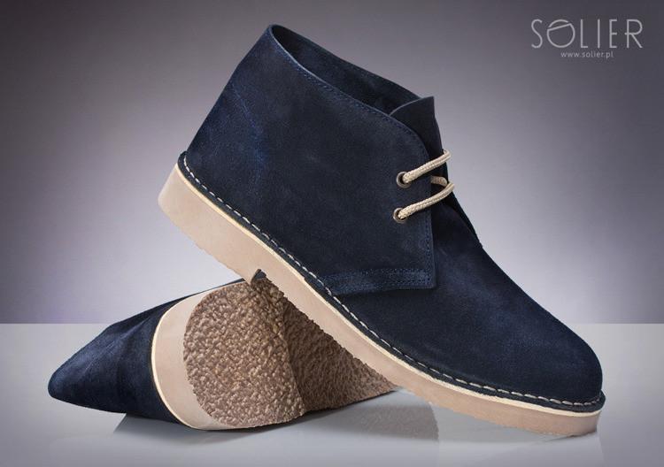 Klasické kožené pánské boty CHUKKA navy