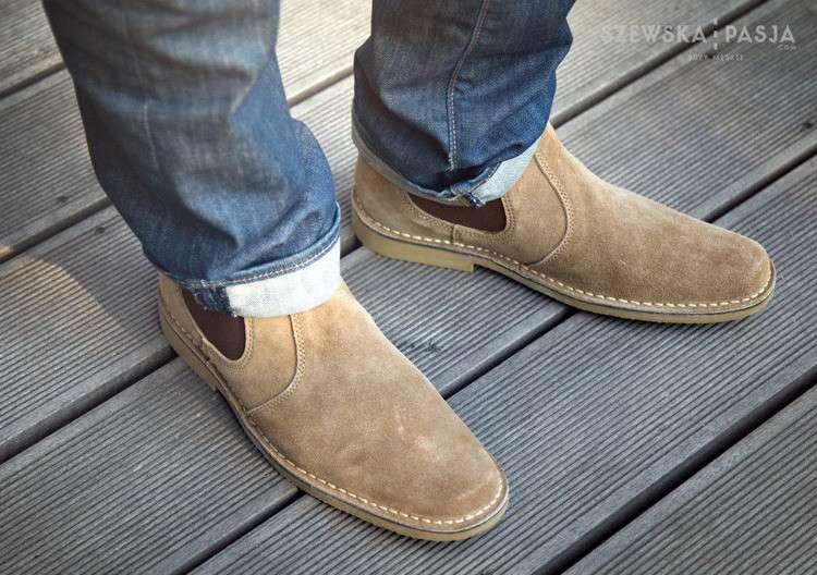 Semišová pánská obuv, stylové polobotky