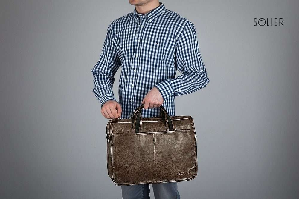 Solier pánská taška přes rameno S13 dark brown (tmavě hnědá)