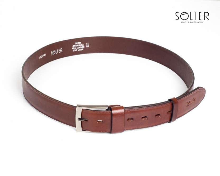 Pánský kožený opasek Solier SB05 - Brown 100cm