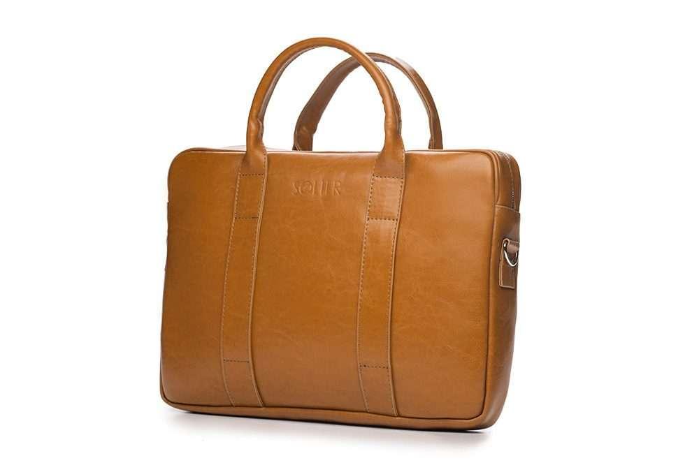 Solier kožená pánská taška SL20 camel (světle hnědá)